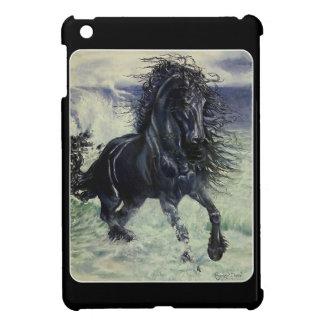 """Friesian Storm""  black stallion horse in ocean Case For The iPad Mini"