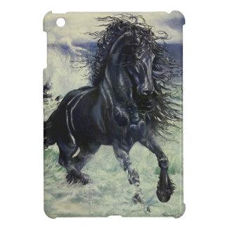 """""""Friesian Storm"""" black stallion horse in ocean iPad Mini Case"""