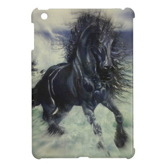 """Friesian Storm"" black stallion horse, radial blur Cover For The iPad Mini"