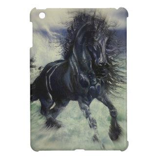 """Friesian Storm"" black stallion horse, radial blur Cover For The iPad Mini"