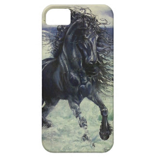 """Friesian Storm"" black stallion in ocean iPhone SE/5/5s Case"