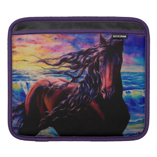 """Friesian Sunrise"" Black stallion at the sea/ocean Sleeve For iPads"