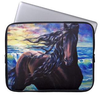 Friesian sunrise, black stallion horse computer sleeve