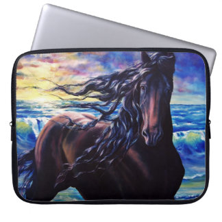 Friesian sunrise, black stallion horse laptop sleeve