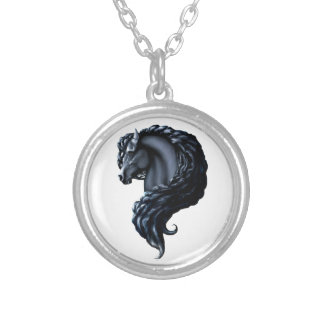 Friesian, the black stallion, horse silver plated necklace