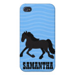 Friesian Warmblood Horse Iphone 4 Custom Case Blue Cases For iPhone 4