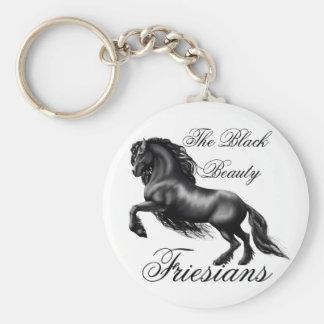 Friesians, black letter basic round button keychain