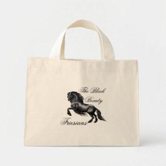 Friesians, black letter mini tote bag