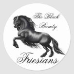 Friesians, black letter round sticker