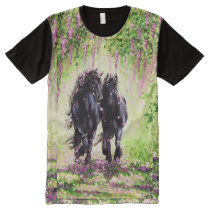 """Friesians on Wisteria Lane"", black Friesian horse All-Over-Print Shirt"