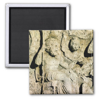 Frieze depicting King Priam and Hecuba 2 Inch Square Magnet