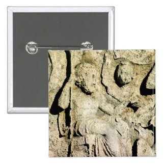 Frieze depicting King Priam and Hecuba 2 Inch Square Button