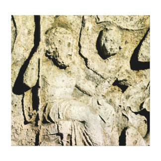 Frieze depicting King Priam and Hecuba Stretched Canvas Print