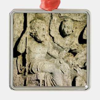 Frieze depicting King Priam and Hecuba Square Metal Christmas Ornament