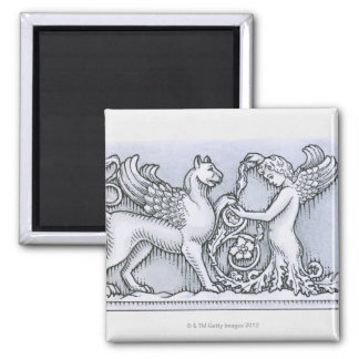 Frieze depicting mythical winged animal and 2 inch square magnet