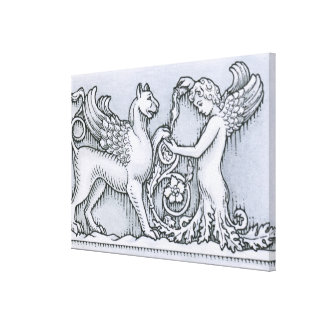 Frieze depicting mythical winged animal and canvas print