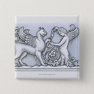 Frieze depicting mythical winged animal and pinback button