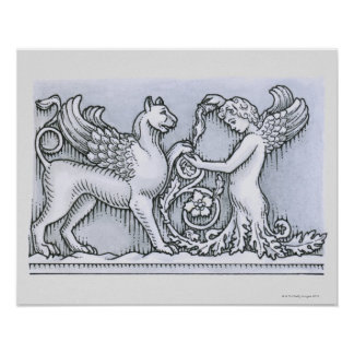 Frieze depicting mythical winged animal and poster