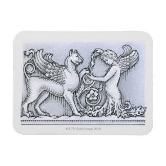 Frieze depicting mythical winged animal and rectangular photo magnet