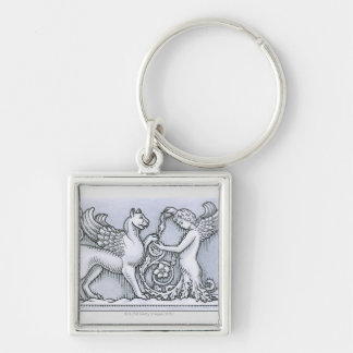Frieze depicting mythical winged animal and Silver-Colored square keychain