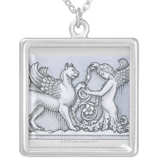 Frieze depicting mythical winged animal and silver plated necklace