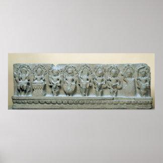 Frieze depicting nine divinities print