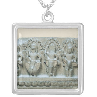 Frieze depicting nine divinities silver plated necklace