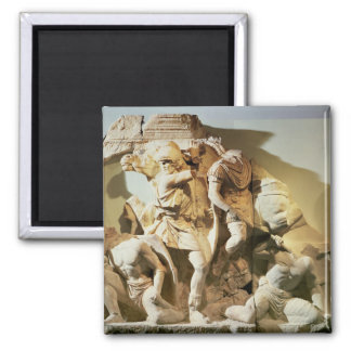 Frieze detail of a battle scene 2 inch square magnet