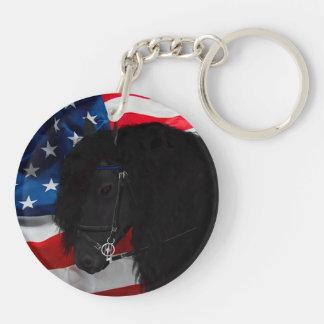 Frieze horse/Friesian with USAS flag Keychain