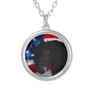 Frieze horse/Friesian with USAS flag Round Pendant Necklace