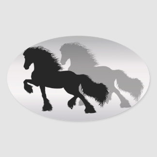 Frieze horse oval sticker