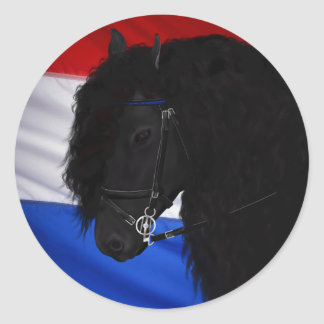 Frieze horse with Dutch flag Classic Round Sticker
