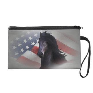 Frieze horse wristlet purse