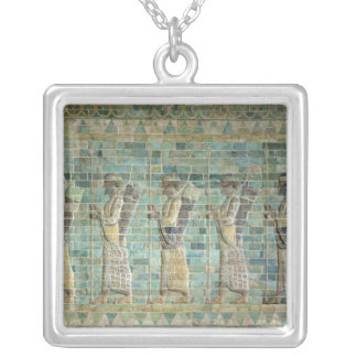 Frieze of archers silver plated necklace