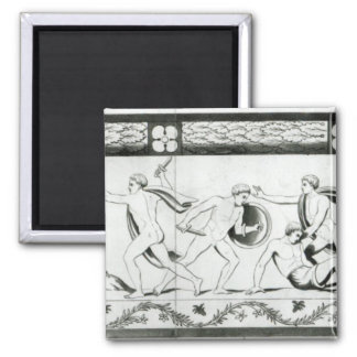 Frieze on the Pillar of the Grotta del 2 Inch Square Magnet