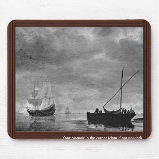 Frigate And Fishing Boat In Calm Seas By Vlieger Mouse Pad