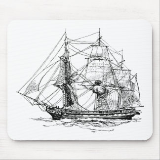 Frigate at Sea Mouse Pad