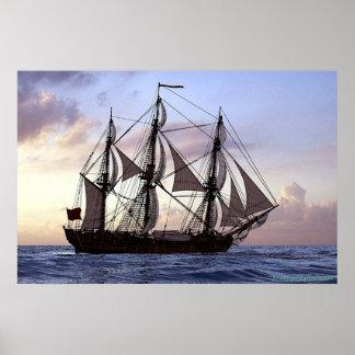 frigate at sunset print