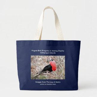 Frigate Bird (Fragata) in Mating Display Galapagos Large Tote Bag
