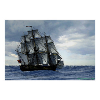 frigate in heavy weather poster