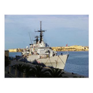 Frigate in Malta. Postcard