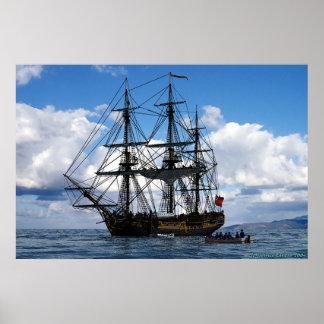 frigate lying at anchor print