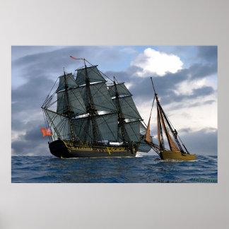 frigate passing smaller vessel poster