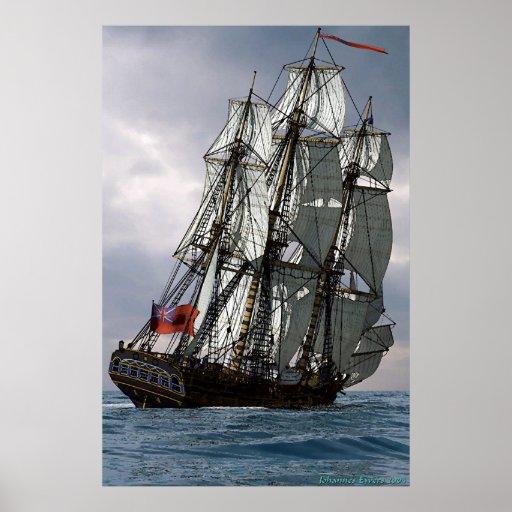 frigate racing along poster