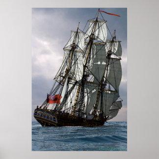 frigate racing along print