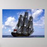 frigate sailing under blue sky poster
