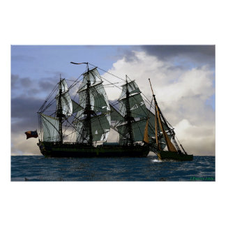 frigate sailing with smaller boat poster