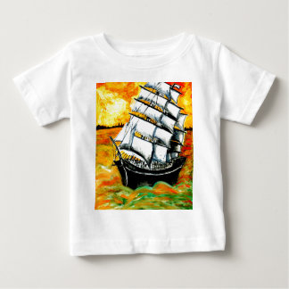 Frigate Ship at Sunset Baby T-Shirt