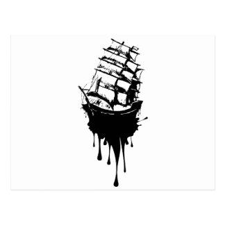 Frigate Ship Grunge Postcard