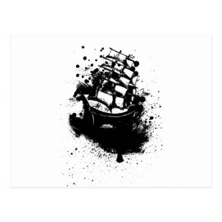 Frigate Ship Sketch Postcard